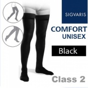 Sigvaris Unisex Comfort Thigh Class 2 (RAL) Black Compression Stockings