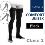 Sigvaris Unisex Comfort Thigh Class 2 (RAL) Black Compression Stockings with Open Toe