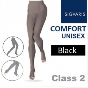 Sigvaris Unisex Comfort Class 2 (RAL) Black Compression Tights with Open Toe