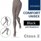 Sigvaris Unisex Comfort Class 2 (RAL) Black Compression Bodyform Tights with Open Toe