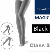 Sigvaris Magic Class 2 Thigh Open Toe Compression Stockings - Black