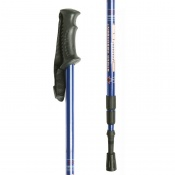 Blue Height-Adjustable Hiking Pole with Contoured Handle