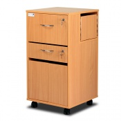 Bristol Maid Beech Bedside Cabinet (Cupboard, Drawer, and Lockable Flap)