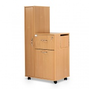 Bristol Maid Beech Bedside Cabinet with Left-Hand Wardrobe (Large Drawer and Lockable Flap)