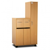 Bristol Maid Beech Bedside Cabinet with Left-Hand Wardrobe (Cupboard and Two Top Drawers)