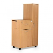 Bristol Maid Beech Bedside Cabinet with Right-Hand Wardrobe (Large Drawer and Lockable Flap)