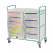 Bristol Maid Bow-Handled Double-Column Caretray Trolley with Eight Deep Trays