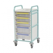 Bristol Maid Bow-Handled Single-Column Caretray Trolley with Four Deep Trays