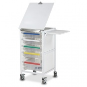 Bristol Maid Fixed-Height Chart Trolley with Four Small Trays and One Large Tray