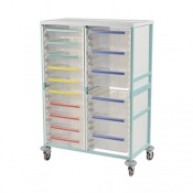 Bristol Maid High-Level Double-Column Caretray Trolley with Six Shallow Trays and Eight Deep Trays