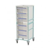 Bristol Maid High-Level Single-Column Caretray Trolley with Four Shallow Trays and Three Deep Trays