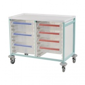 Bristol Maid Low-Level Double-Column Caretray Trolley with Eight Shallow Trays