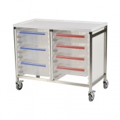 Bristol Maid Low Level Double Column 785mm High Procedure Trolley with 4 Small Trays and 3 Large Trays