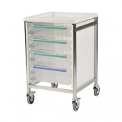 Bristol Maid Low Level Single Column 785mm High Procedure Trolley with 1 Small Tray and 2 Large Trays