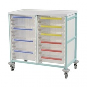 Bristol Maid Mid-Level Double-Column Caretray Trolley with Eight Deep Trays