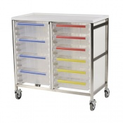 Bristol Maid Double Column 950mm High Procedure Trolley with 3 Small and 6 Large Trays