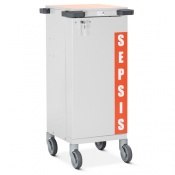 Bristol Maid Single-Door Sepsis Trolley with Six Drawers and Bolt Lock