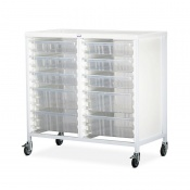 Bristol Maid Double-Column Standard-Level Tray Trolley with 6 x 100mm and 4 x 160mm Trays