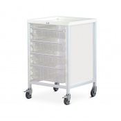 Bristol Maid Single-Column Low-Level Tray Trolley with 3 x 100mm and 1 x 160mm Tray