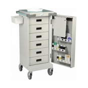 Bristol Maid Unit Dosage Trolley with Single Door and Six Shallow Drawers and Code Lock