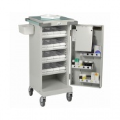 Bristol Maid Unit Dosage Trolley with Single Door, 16 LA Trays and Bolt Lock
