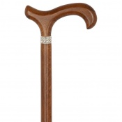 Brown Beech Derby Handle Dress Walking Stick with Celtic Collar