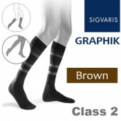 Sigvaris Graphik Men's Calf Class 2 Brown Compression Stockings