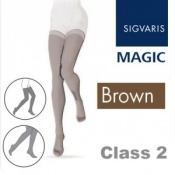 Sigvaris Magic Class 2 Thigh Closed Toe Compression Stockings - Brown