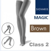 Sigvaris Magic Class 2 Thigh Open Toe Compression Stockings - Brown