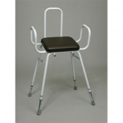 Fixed Frame Percher Stool With Armrests and Back