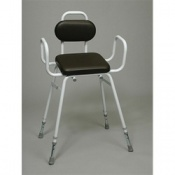 Padded Percher Stool With Armrests and Back