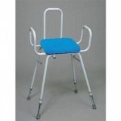 Perching Stool With Polyurethane Seat Plus Arm and Backrest