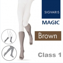 Sigvaris Magic Class 1 Calf Closed Toe Compression Stockings - Brown