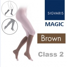 Sigvaris Magic Class 2 Calf Open Toe Tights Stockings - Brown