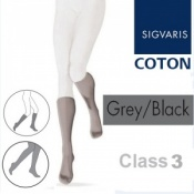 Sigvaris Coton Calf Class 3 Grey Black Compression Stockings