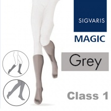 Sigvaris Magic Class 1 Calf Closed Toe Compression Stockings - Grey