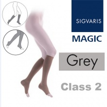 Sigvaris Magic Class 2 Calf Open Toe Compression Stockings - Grey