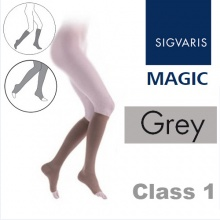 Sigvaris Magic Class 1 Calf Open Toe Compression Stockings - Grey