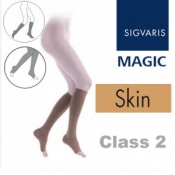 Sigvaris Magic Class 2 Calf Open Toe Compression Stockings - Skin