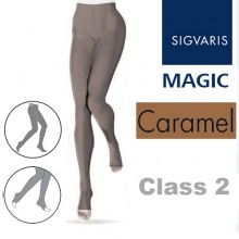 Sigvaris Magic Class 2 Open Toe Compression Tights - Caramel