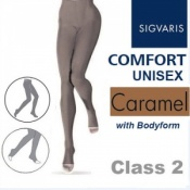 Sigvaris Unisex Comfort Class 2 (RAL) Caramel Compression Bodyform Tights with Open Toe