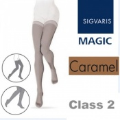 Sigvaris Magic Class 2 Thigh Closed Toe Compression Stockings - Caramel