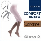 Sigvaris Unisex Comfort Calf Class 2 (RAL) Caramel Open Toe Compression Stockings