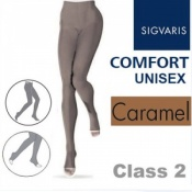 Sigvaris Unisex Comfort Class 2 (RAL) Caramel Compression Tights with Open Toe