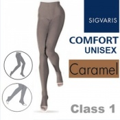 Sigvaris Unisex Comfort Class 1 (RAL) Caramel Compression Tights with Open Toe