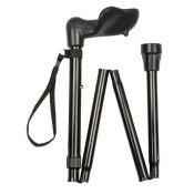 Adjustable Folding Black Anatomical Walking Stick
