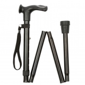 Economy Adjustable Folding Black Anatomical Walking Stick
