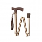 Economy Height-Adjustable Folding Bronze Walking Stick