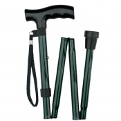 Economy Height-Adjustable Folding Green Walking Stick with Moulded Handle