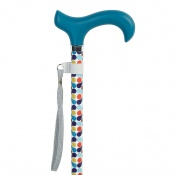 Height-Adjustable Retro Spots Aluminium Derby Walking Stick